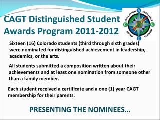 CAGT Distinguished Student Awards Program 2011-2012