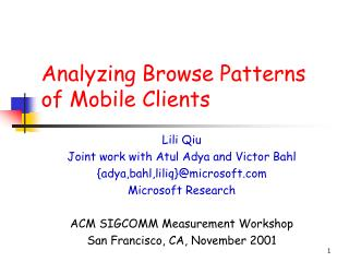 Analyzing Browse Patterns of Mobile Clients