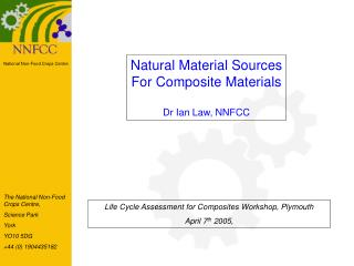 Natural Material Sources For Composite Materials Dr Ian Law, NNFCC
