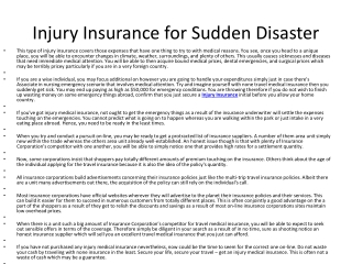 Injury Insurance for Sudden Disaster
