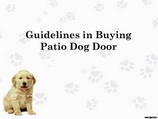 Guidelines in Buying Patio Dog Door