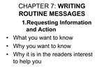 CHAPTER 7: WRITING ROUTINE MESSAGES