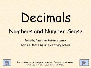 Decimals Numbers and Number Sense