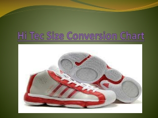 Hi Tec Size Conversion Chart