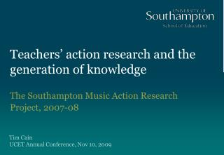 Teachers' action research and the generation of knowledge