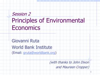 Session 2 Principles of Environmental Economics