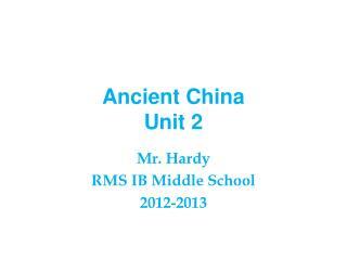 Ancient China Unit 2