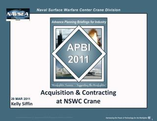 Acquisition & Contracting  at NSWC Crane