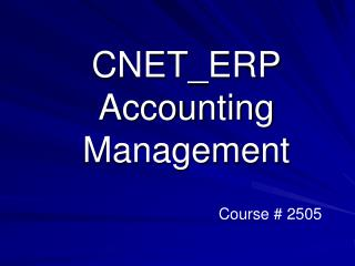 CNET\_ERP Accounting Management
