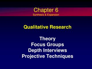 Qualitative Research Theory  Focus Groups Depth Interviews Projective Techniques