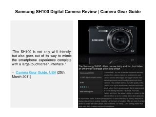 Samsung SH100 Digital Camera Review l Camera Gear Guide