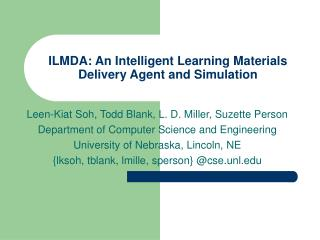 ILMDA: An Intelligent Learning Materials Delivery Agent and Simulation