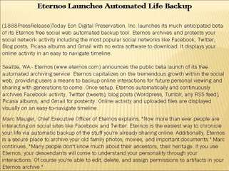 Eternos Launches Automated Life Backup