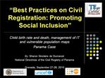 Best Practices on Civil Registration: Promoting Social Inclusion