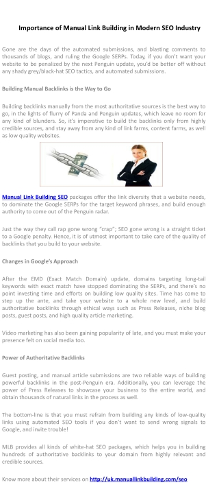 Importance of Manual Link Building in Modern SEO Industry