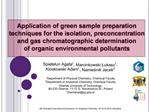 Application of green sample preparation techniques for the isolation, preconcentration and gas chromatographic determina
