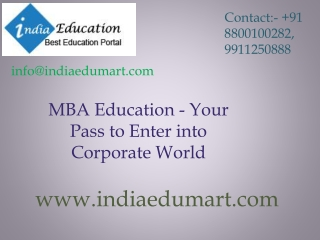 MBA Education - Your Pass to Enter into Corporate World