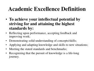 Academic Excellence Definition