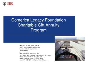 Comerica Legacy Foundation  Charitable Gift Annuity Program