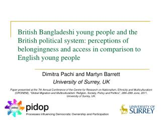 British Bangladeshi young people and the British political system: perceptions of belongingness and access in comparison