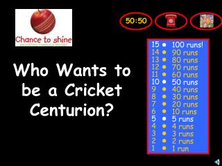 Who Wants to be a Cricket Centurion?