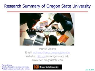 Research Summary of Oregon State University