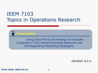 IEEM 7103  Topics in Operations Research