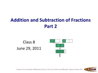 Addition and Subtraction of Fractions Part 2