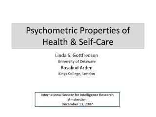 Psychometric Properties of Health & Self-Care
