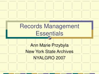 Records Management Essentials