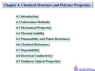 Chapter 4. Chemical Structure and Polymer Properties