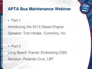APTA Bus Maintenance Webinar