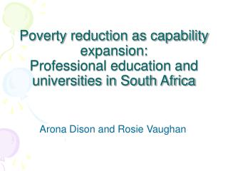 Poverty reduction as capability expansion: Professional education and universities in South Africa