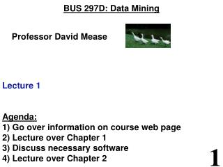 BUS 297D: Data Mining     Professor David Mease Lecture 1 Agenda: 1) Go over information on course web page 2) Lecture o
