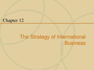 Chapter 12 The Strategy of International Business