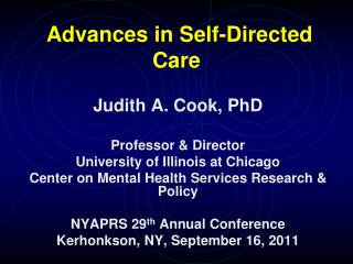 Advances in Self-Directed Care