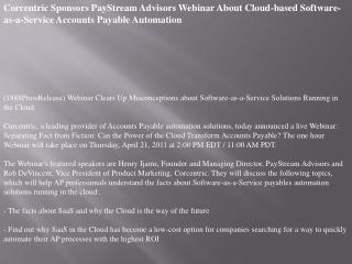 Corcentric Sponsors PayStream Advisors Webinar About Cloud-b