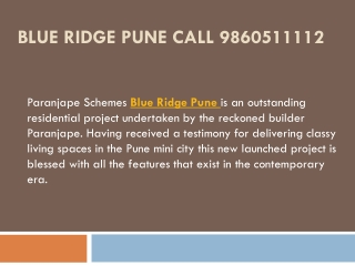 Blue Ridge Pune 2Bhk Fantastic Homes