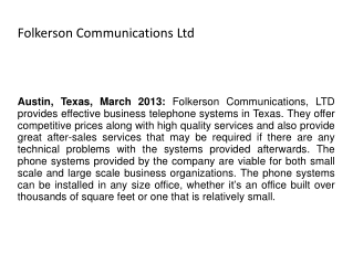 Folkerson Communications Ltd