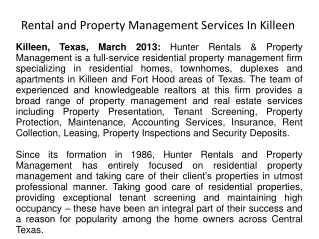 Rental and Property Management Services In Killeen