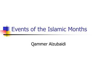 Events of the Islamic Months