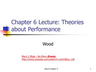 Chapter 6 Lecture: Theories about Performance