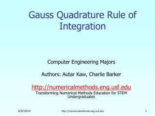 Gauss Quadrature Rule of Integration