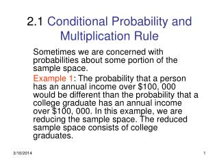 2.1  Conditional Probability and Multiplication Rule