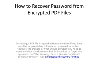 How to Recover Password from Encrypted PDF Files