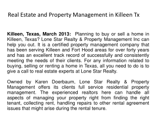 Real Estate and Property Management in Killeen Tx