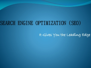 SEARCH ENGINE OPTIMIZATION (SEO) - It Gives You the Leading