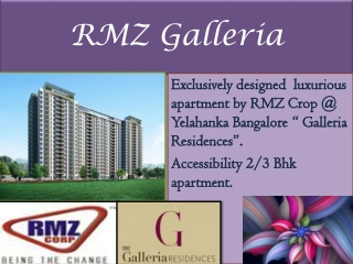 RMZ Luxury Project Bangalore 09999620966