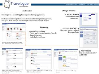 Motivation Travelogue is a social trip planning and sharing application.