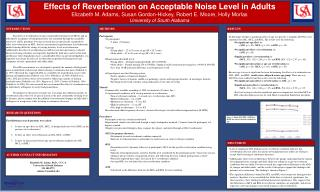 Effects of Reverberation on Acceptable Noise Level in Adults Elizabeth M. Adams, Susan Gordon-Hickey, Robert E. Moore, H